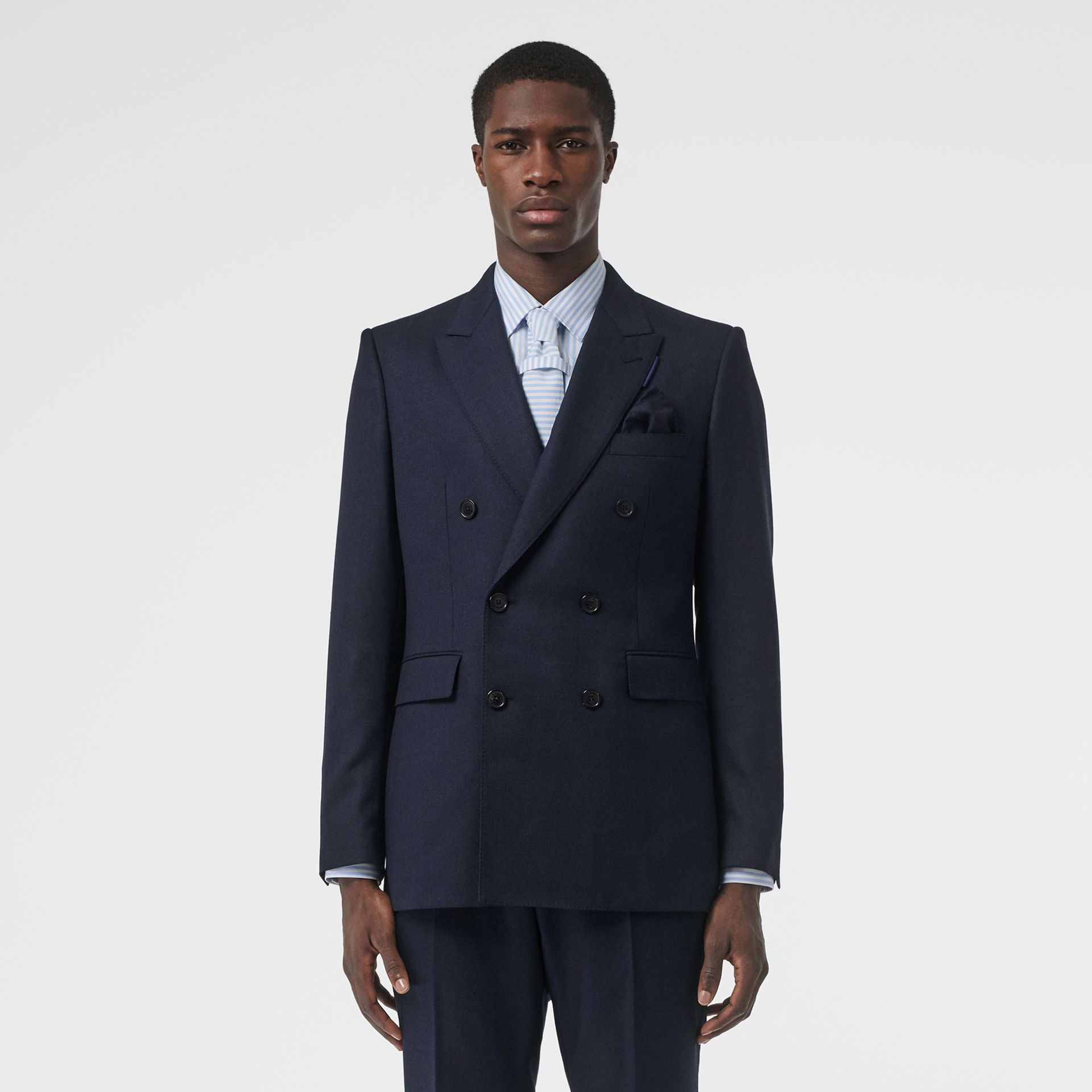 English Fit Birdseye Wool Cashmere Suit in Navy Blue | Burberry United Kingdom - gallery image 7