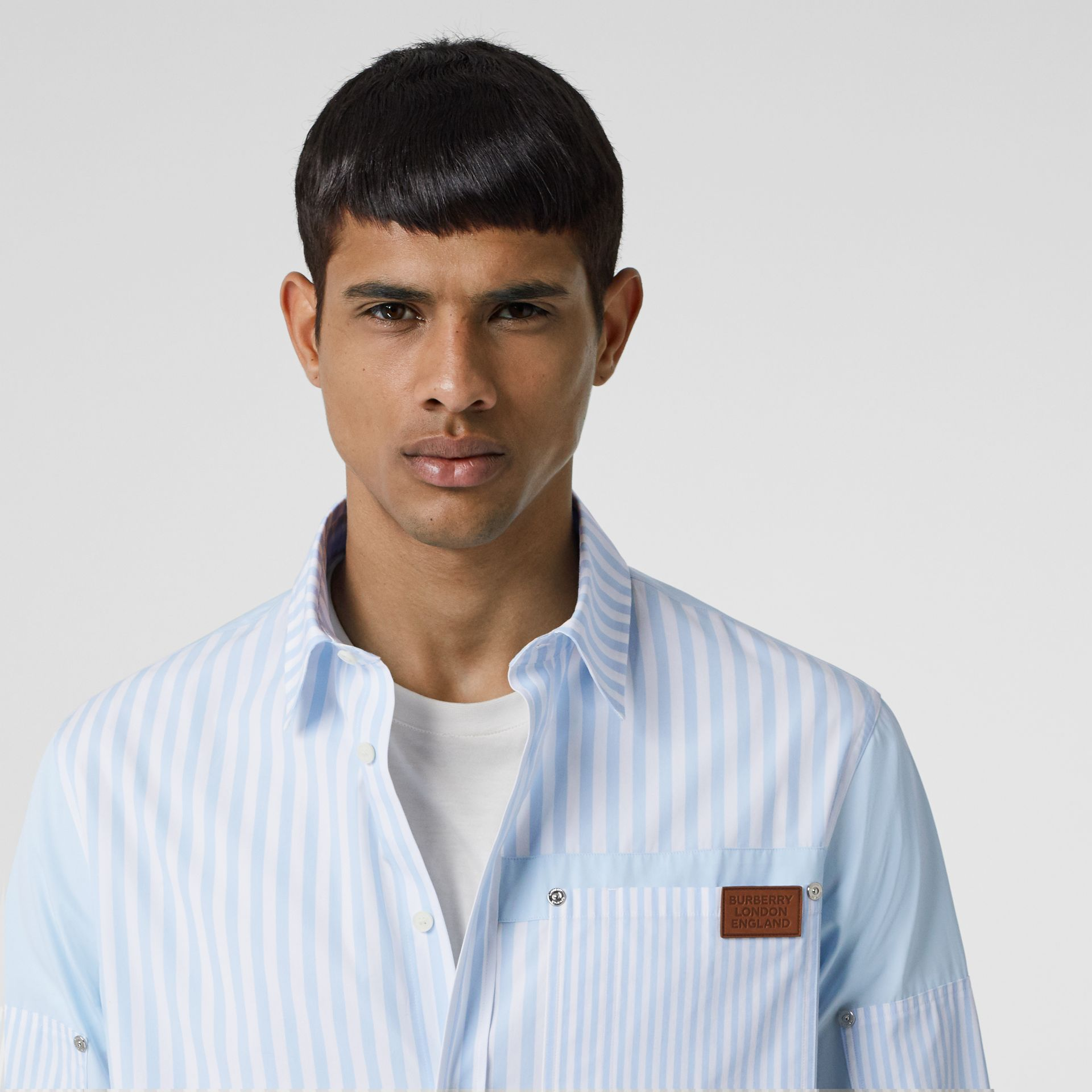 Logo Detail Patchwork Striped Cotton Shirt in Pale Blue Stripe - Men | Burberry United States - gallery image 1