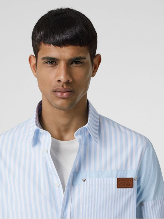 Logo Detail Patchwork Striped Cotton Shirt in Pale Blue Stripe - Men | Burberry United States - cell image 1