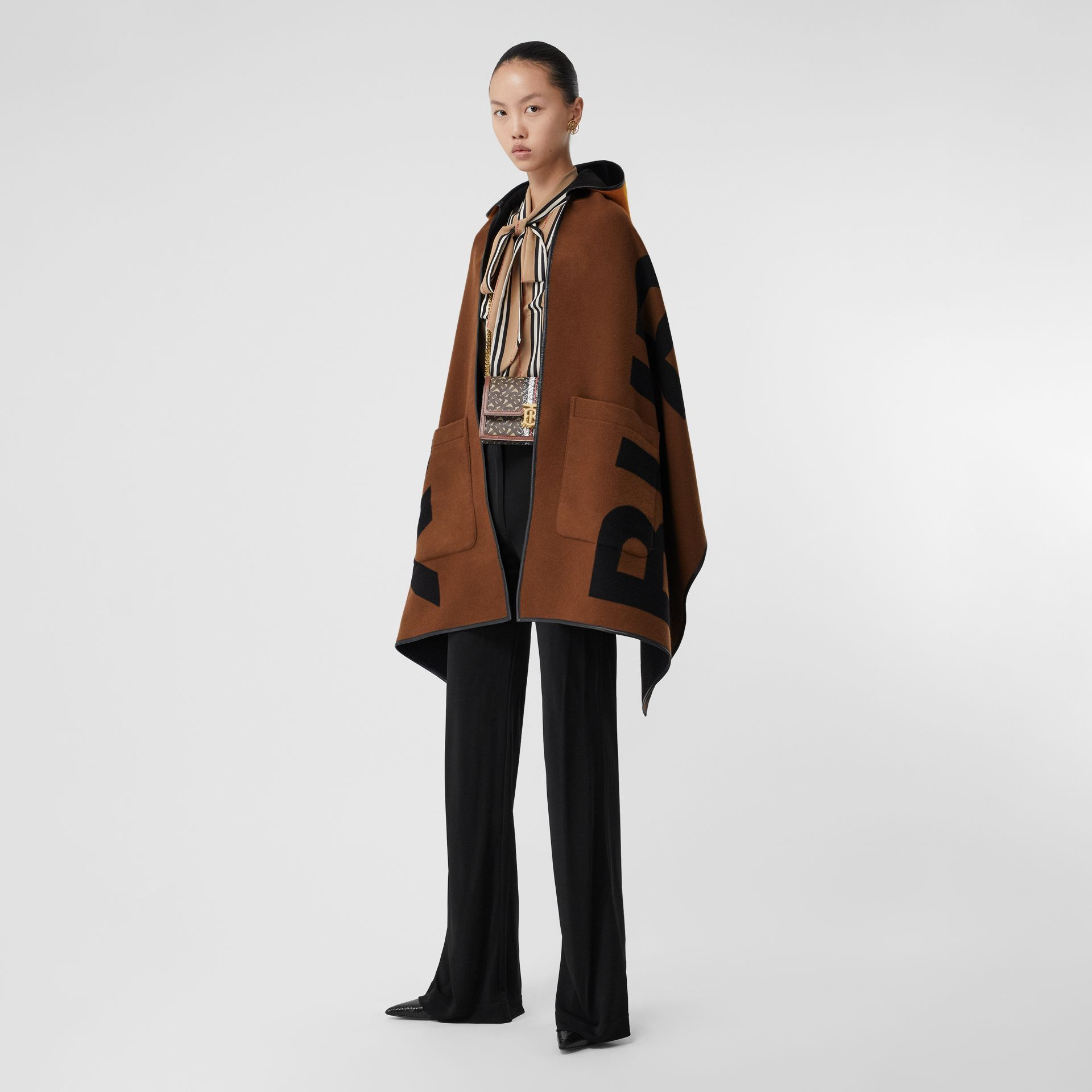 Logo Wool Cotton Jacquard Hooded Cape in Dark Chestnut Brown | Burberry - gallery image 4