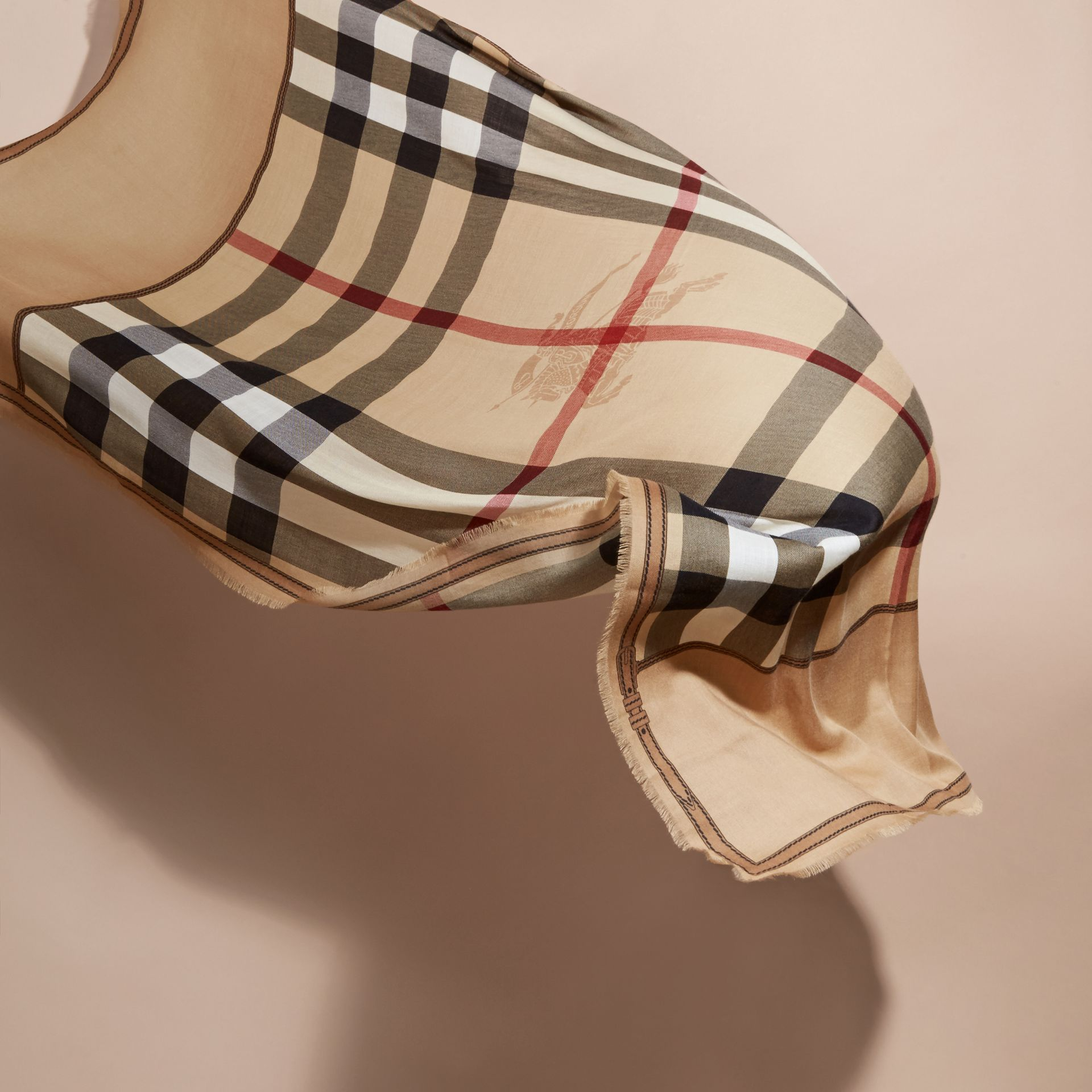 Contrast Border Horseferry Check Cashmere Scarf in Camel - gallery image 4