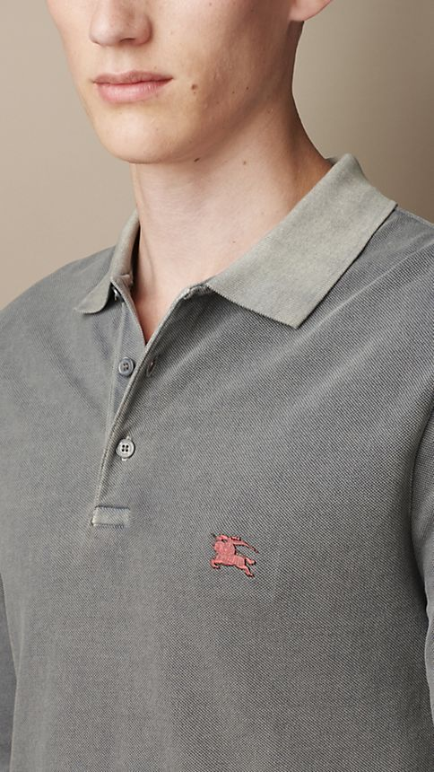 Grey Cotton Jersey Double Dyed Polo Shirt Grey - Image 3