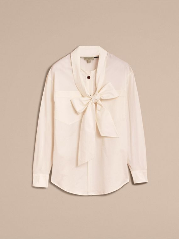 Neck Tie Stretch Cotton Shirt - cell image 3