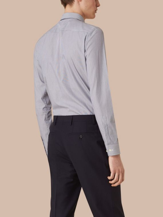 Slim Fit Striped Cotton Poplin Shirt in Dark Empire Blue - cell image 2
