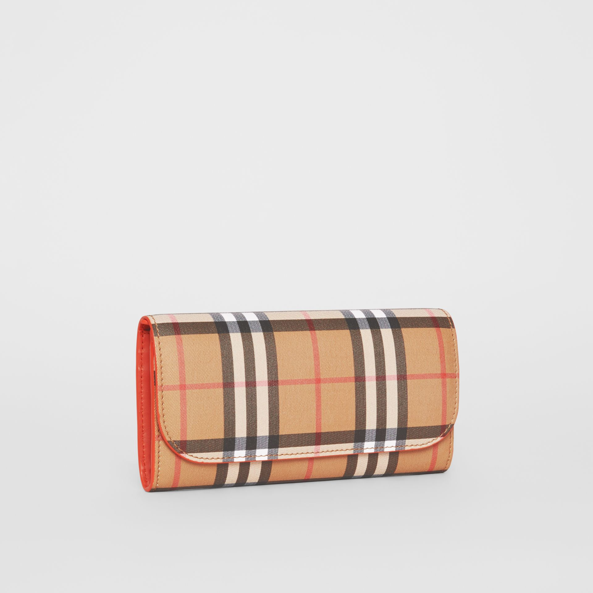 Vintage Check and Leather Continental Wallet in Clementine - Women | Burberry Singapore - gallery image 4