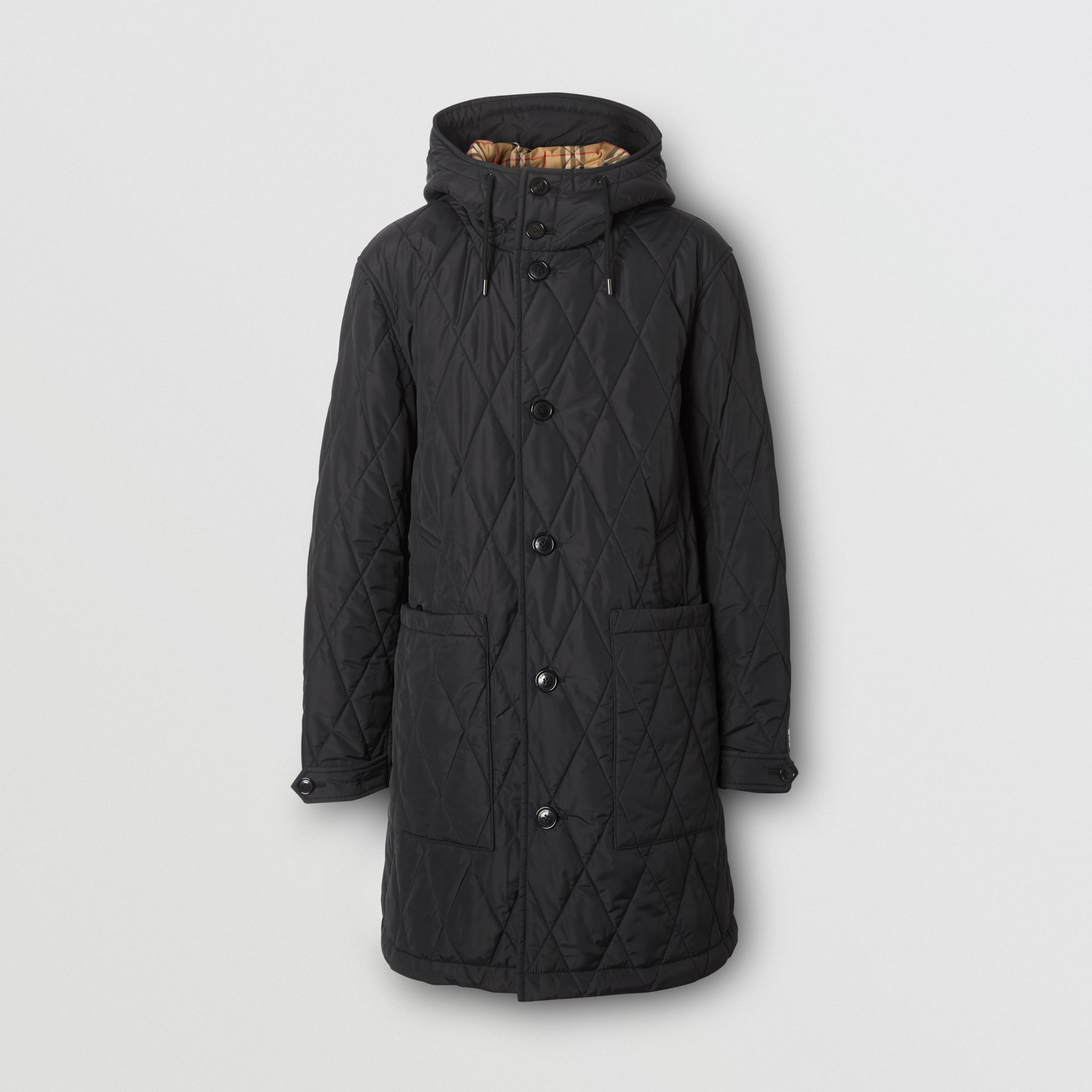 Diamond Quilted Thermoregulated ECONYL® Coat in Black - Men | Burberry United Kingdom - gallery image 3