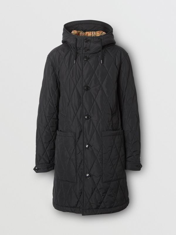 Diamond Quilted Thermoregulated ECONYL® Coat in Black - Men | Burberry United Kingdom - cell image 3
