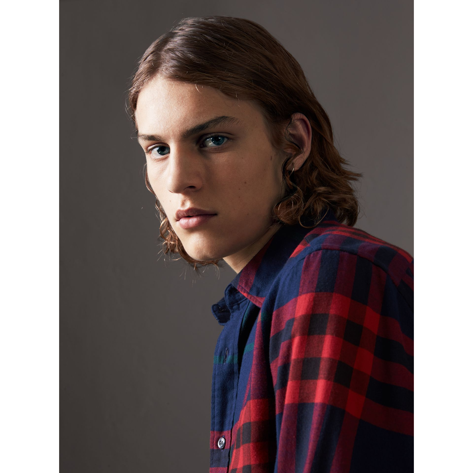 Check Cotton Flannel Shirt in Ink Blue - Men | Burberry - gallery image 2