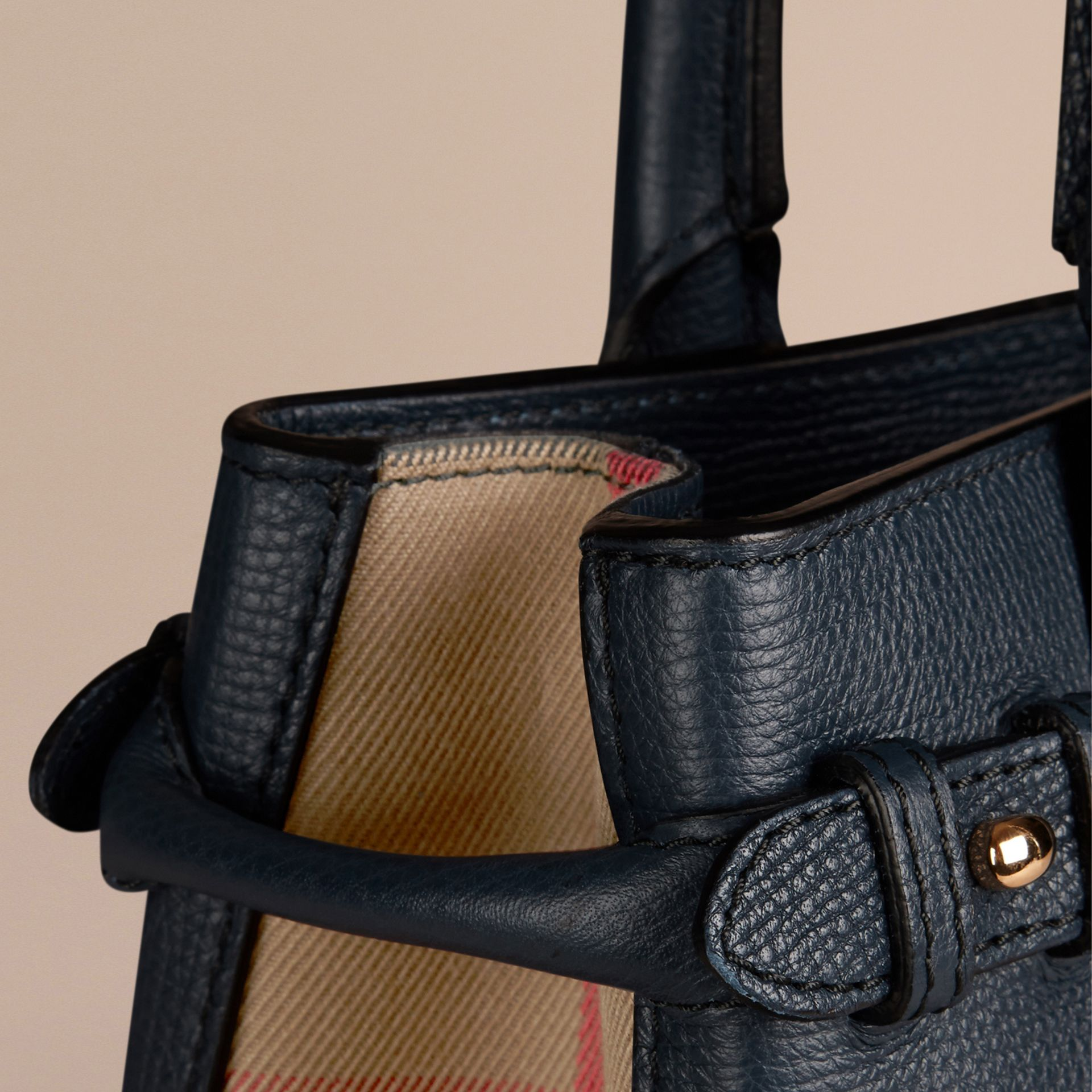 The Small Banner in Leather and House Check in Ink Blue - Women | Burberry Singapore - gallery image 1