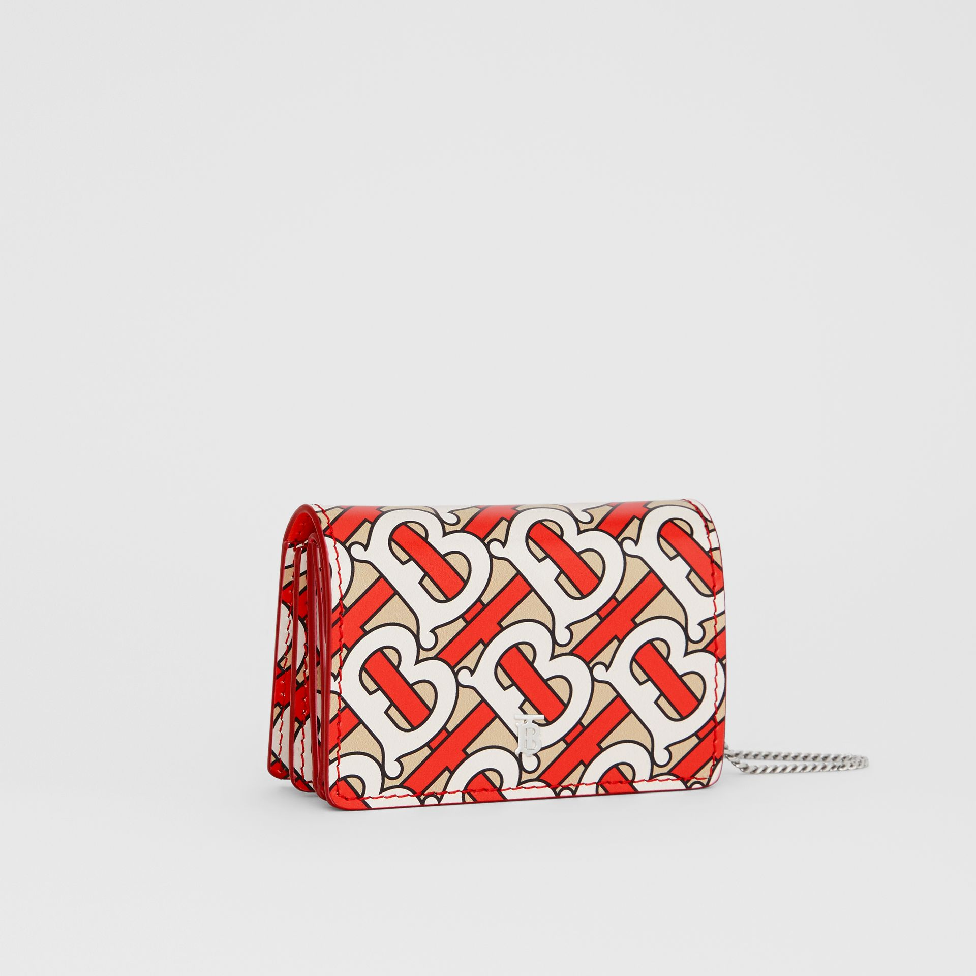 Monogram Print Card Case with Detachable Strap in Vermilion - Women | Burberry United Kingdom - gallery image 4