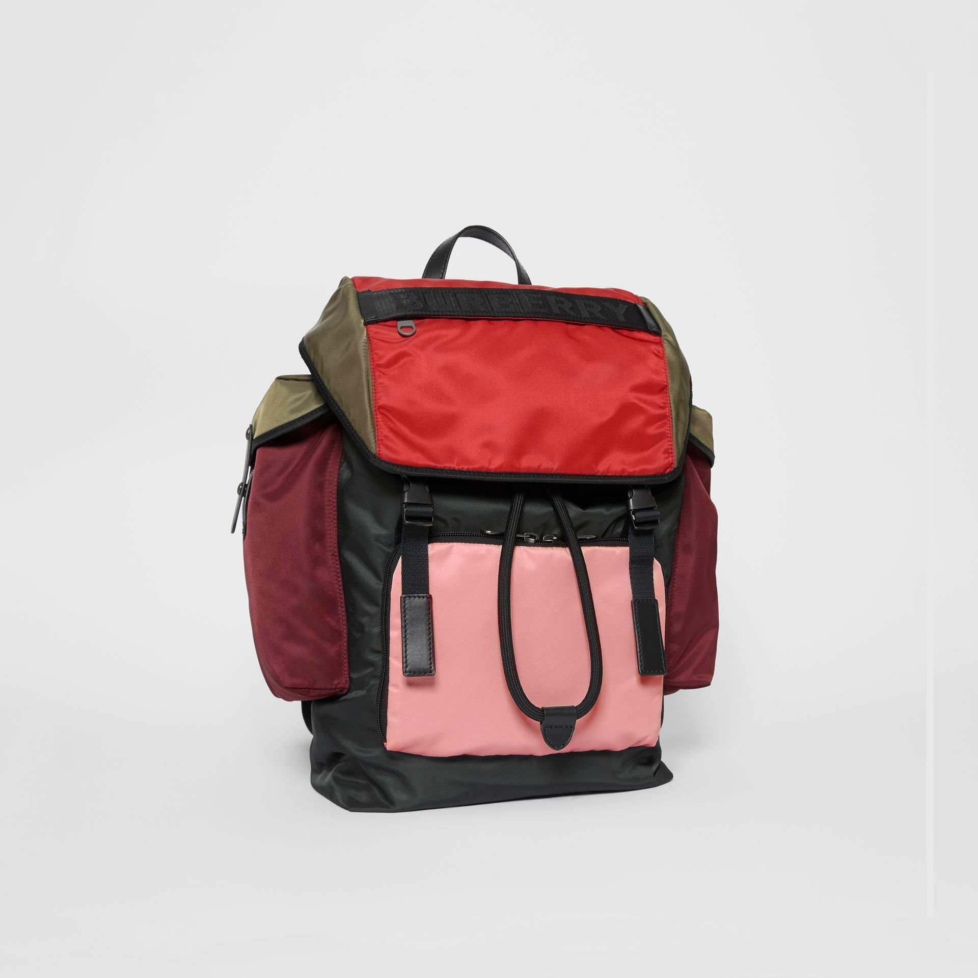 Large Leather Trim Colour Block Nylon Backpack in Multicolour | Burberry United Kingdom - gallery image 4