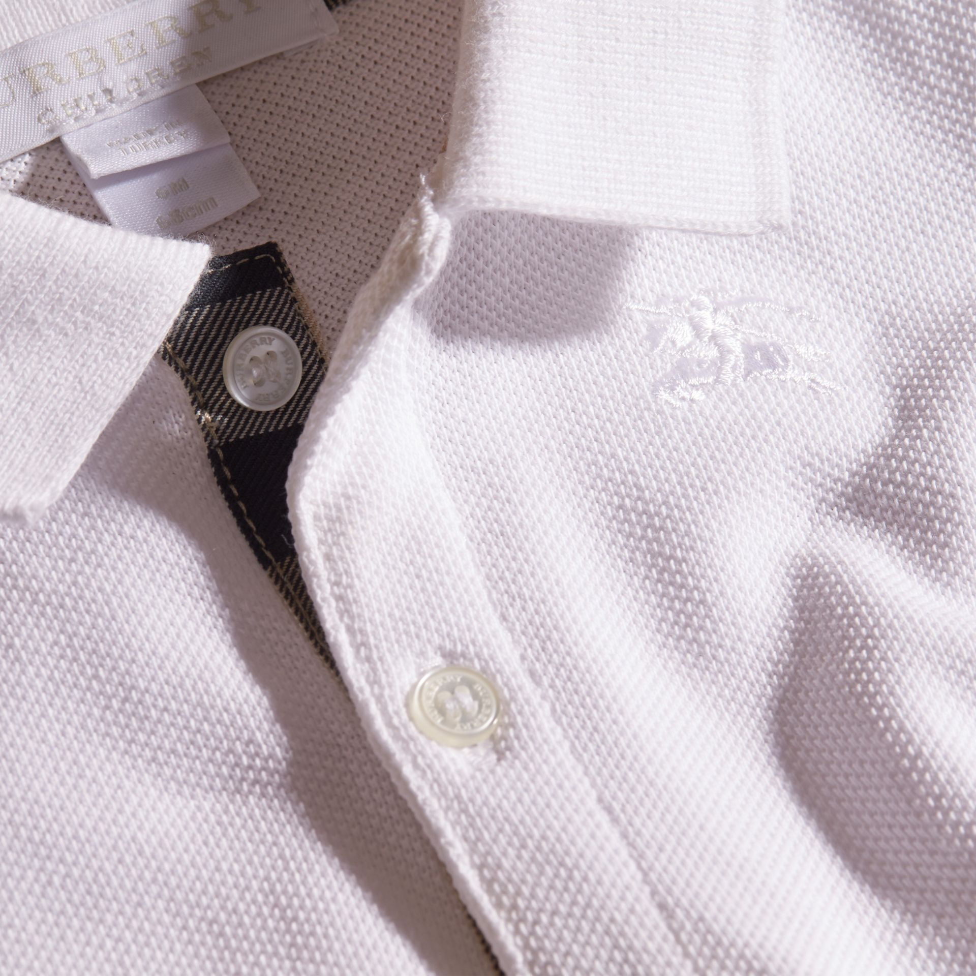Cotton Piqué Polo Shirt in White | Burberry - gallery image 2