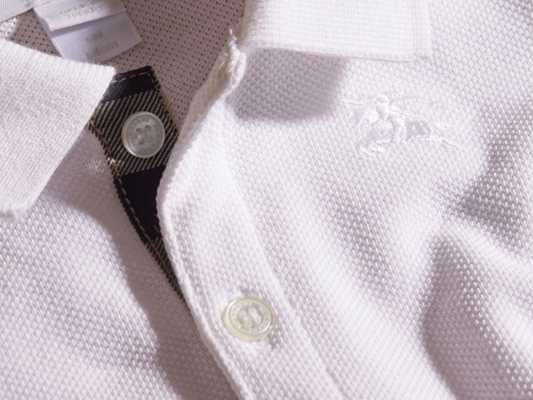 Cotton Piqué Polo Shirt in White | Burberry - cell image 1