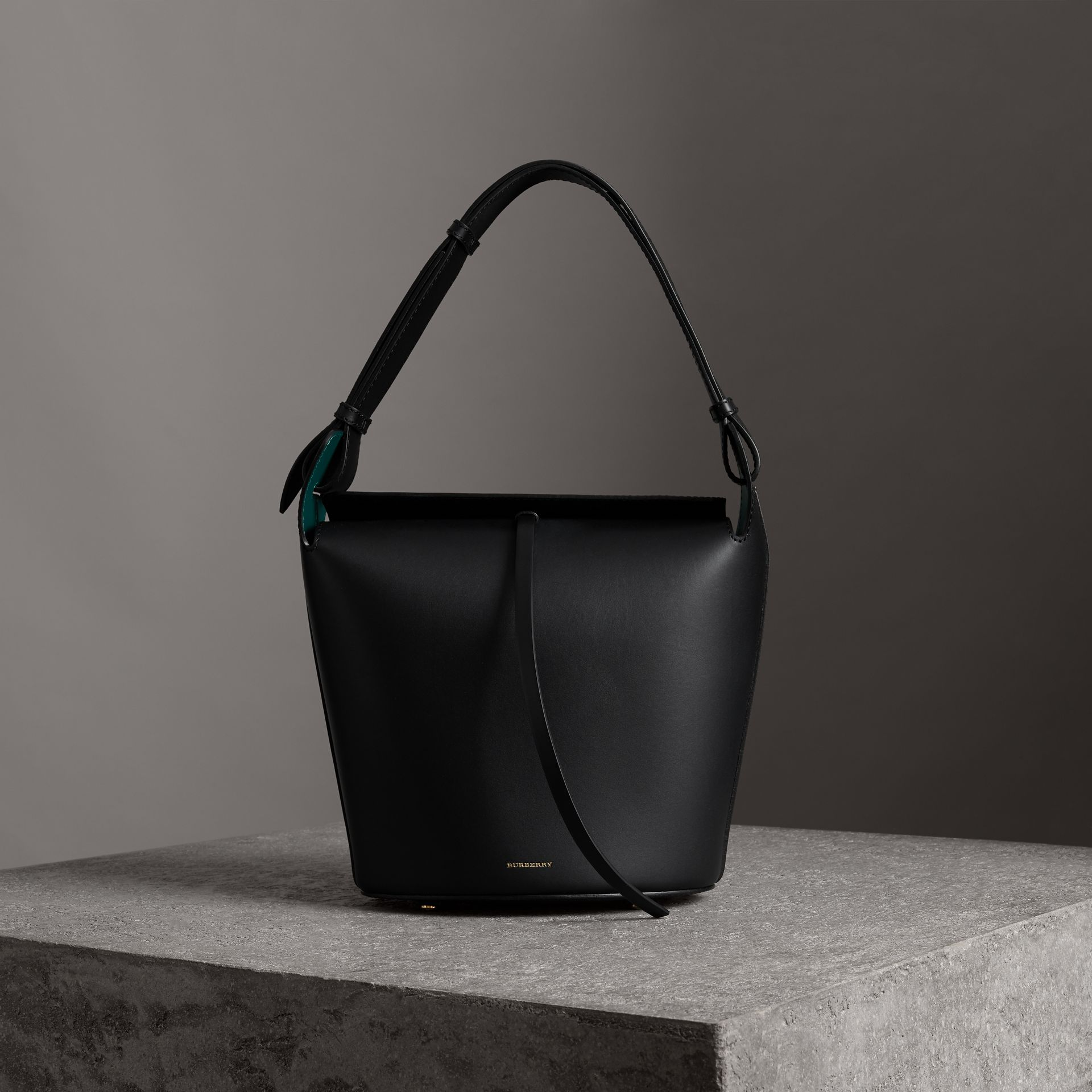 The Medium Leather Bucket Bag in Black - Women | Burberry - gallery image 0