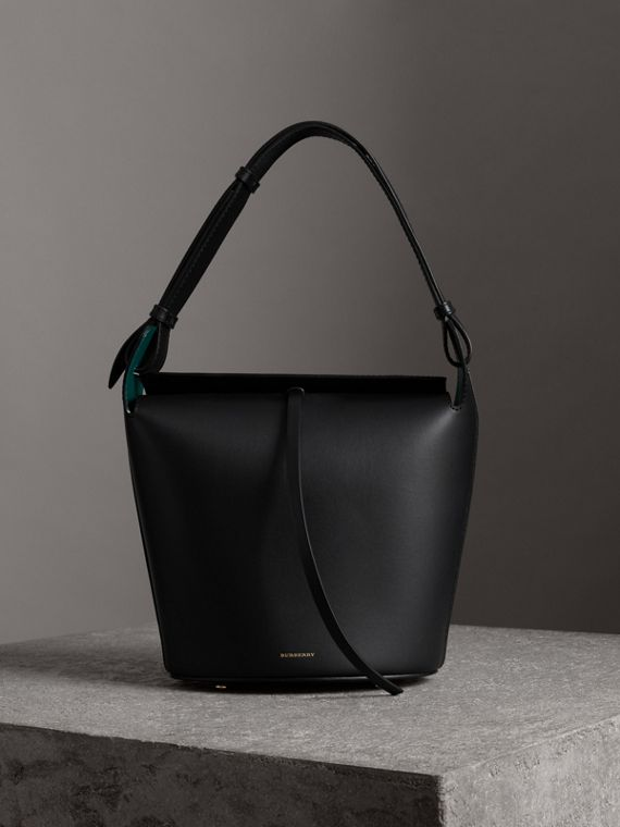 Borsa The Bucket media in pelle (Nero)