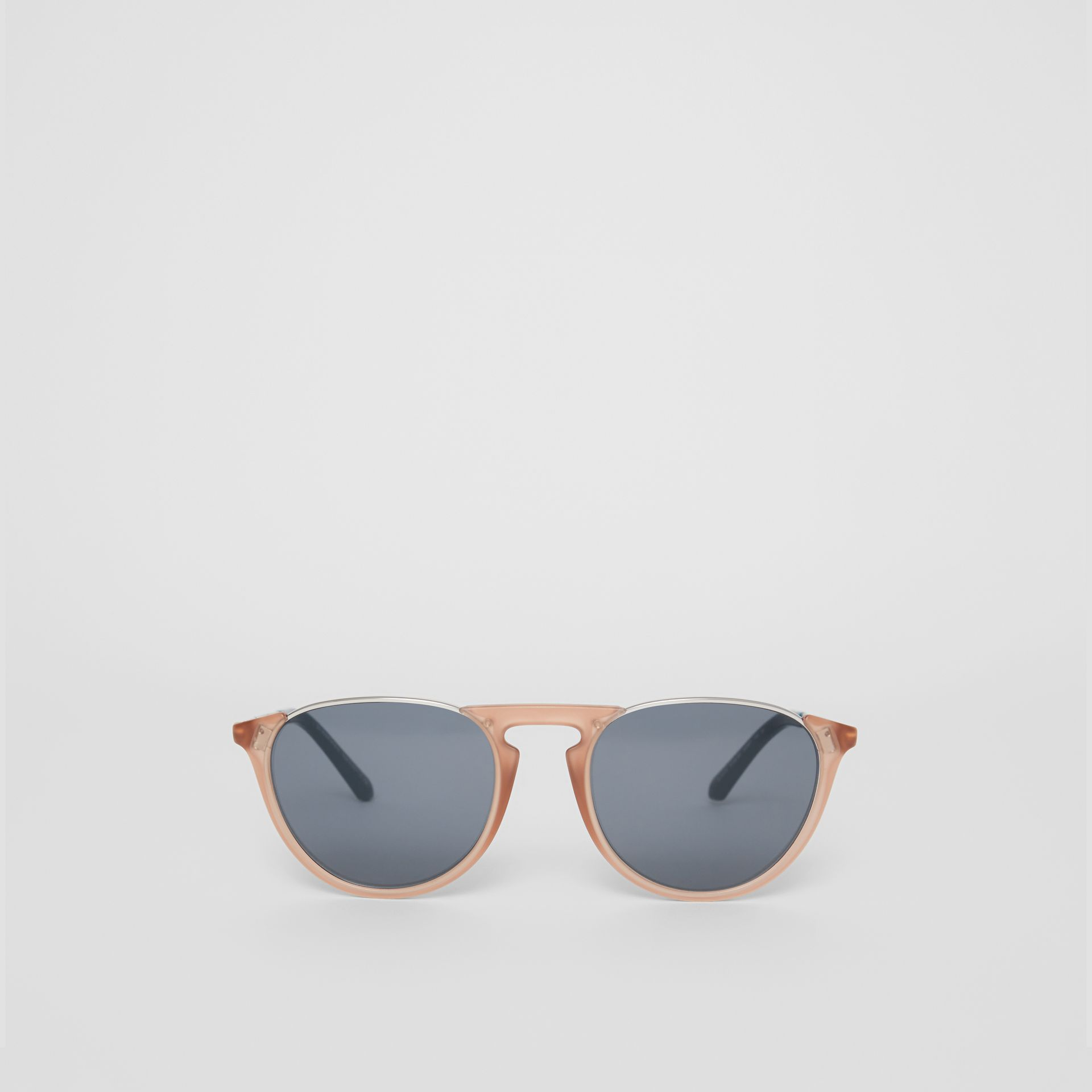 Keyhole Pilot Round Frame Sunglasses in Nude - Men | Burberry Hong Kong - gallery image 0