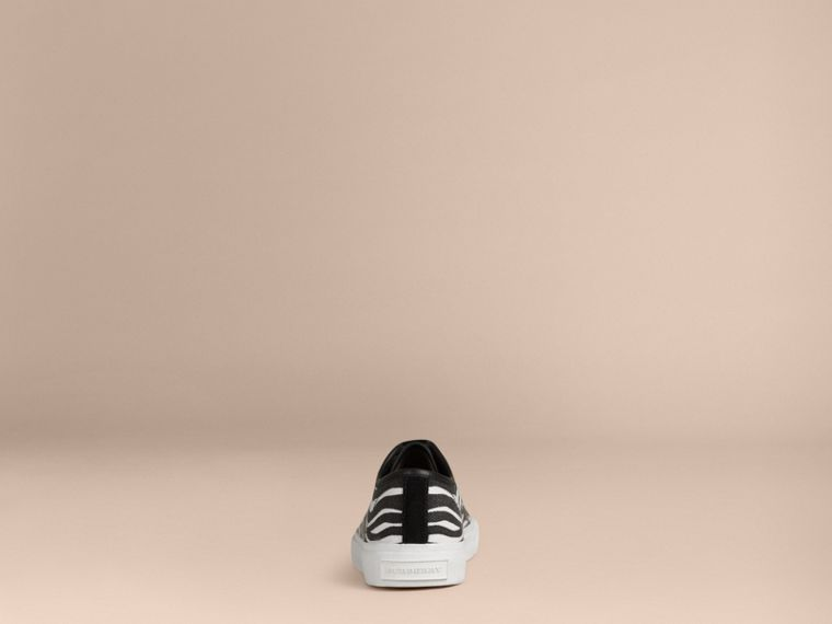 Black / white Zebra Print Canvas Trainers - cell image 1