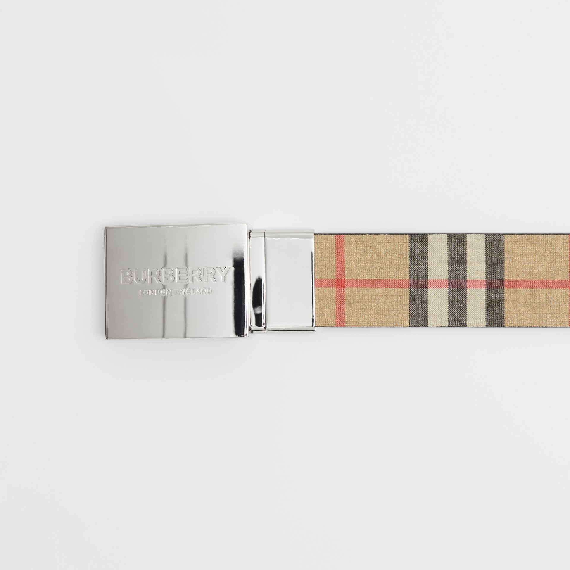 Reversible Plaque Buckle Vintage Check E-canvas Belt in Archive Beige - Men | Burberry Australia - gallery image 1