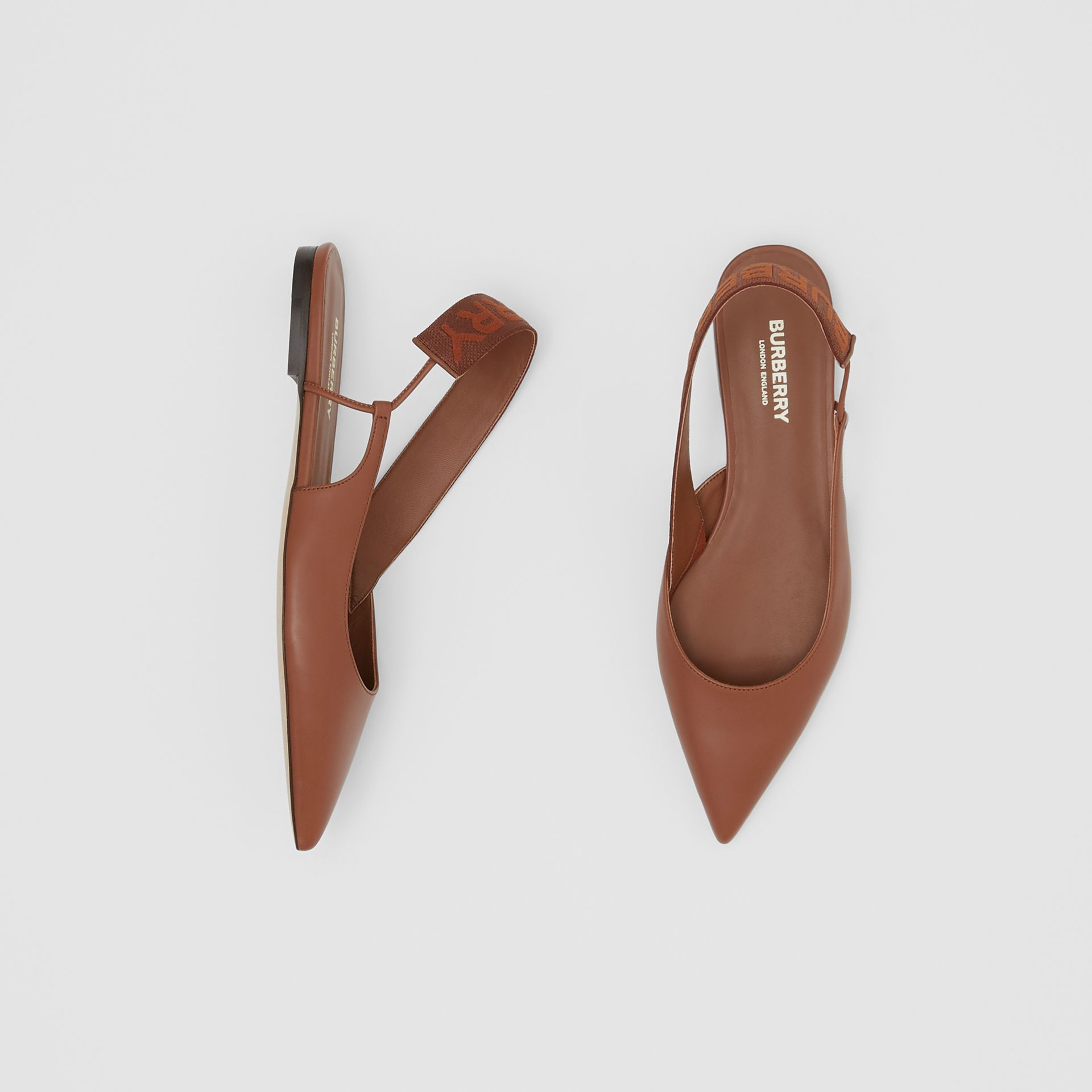 Logo Detail Leather Slingback Flats in Tan - Women | Burberry - gallery image 0