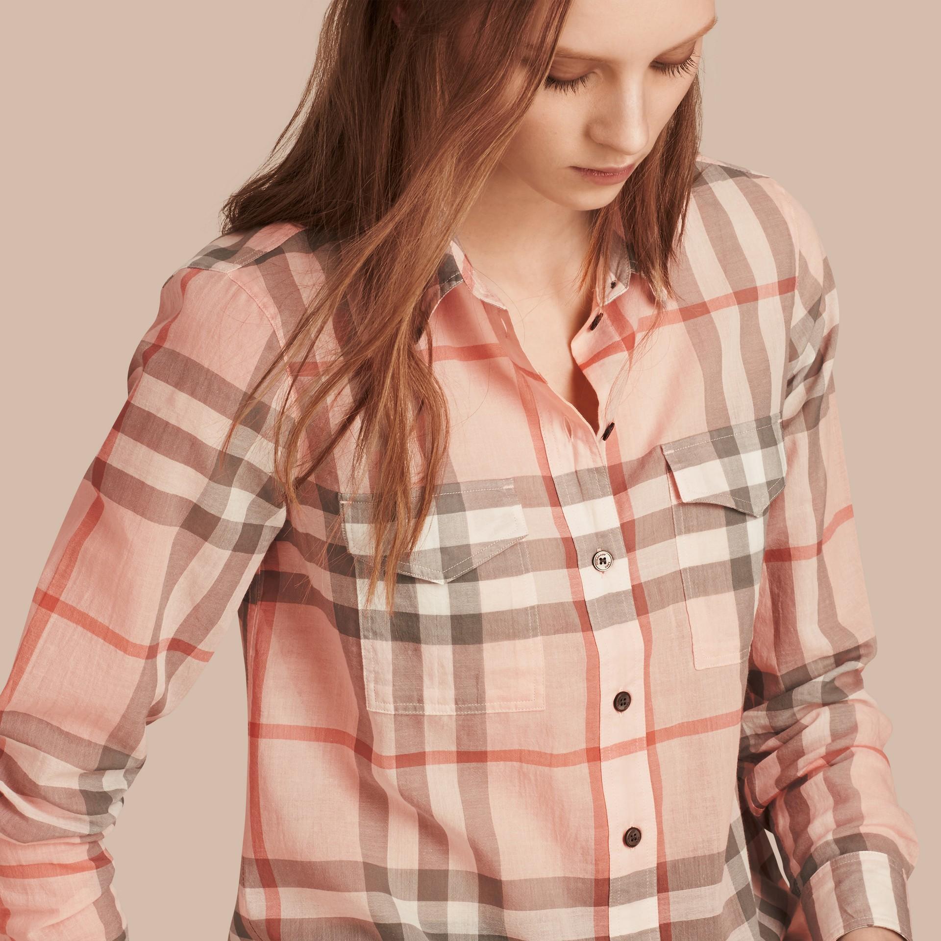 Albicocca pallido Camicia in cotone con motivo check Albicocca Pallido - immagine della galleria 2
