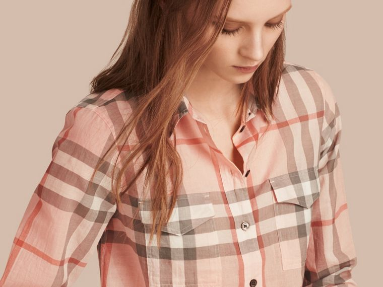 Pale apricot Check Cotton Shirt Pale Apricot - cell image 1