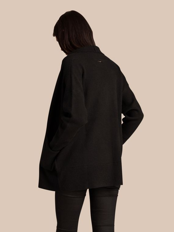 Black Cashmere and Cotton Blend Shawl Cardigan Black - cell image 3