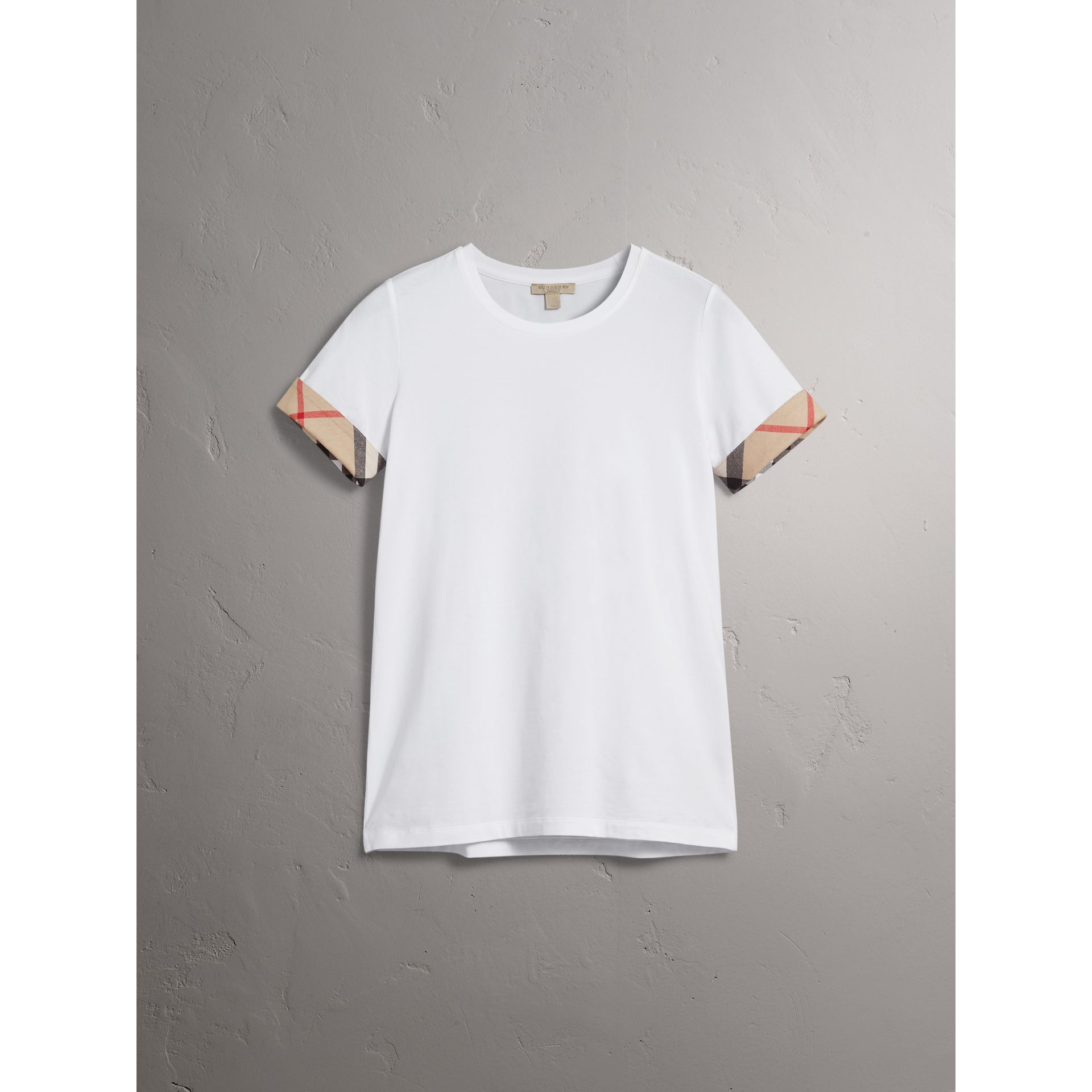 Check Cuff Stretch Cotton T-Shirt in White - Women | Burberry Canada - gallery image 3
