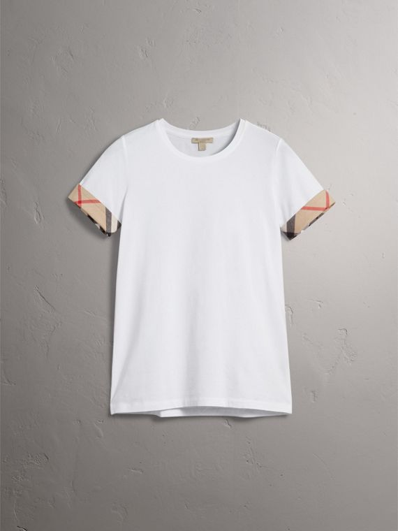 Check Cuff Stretch Cotton T-Shirt in White - Women | Burberry Australia - cell image 3