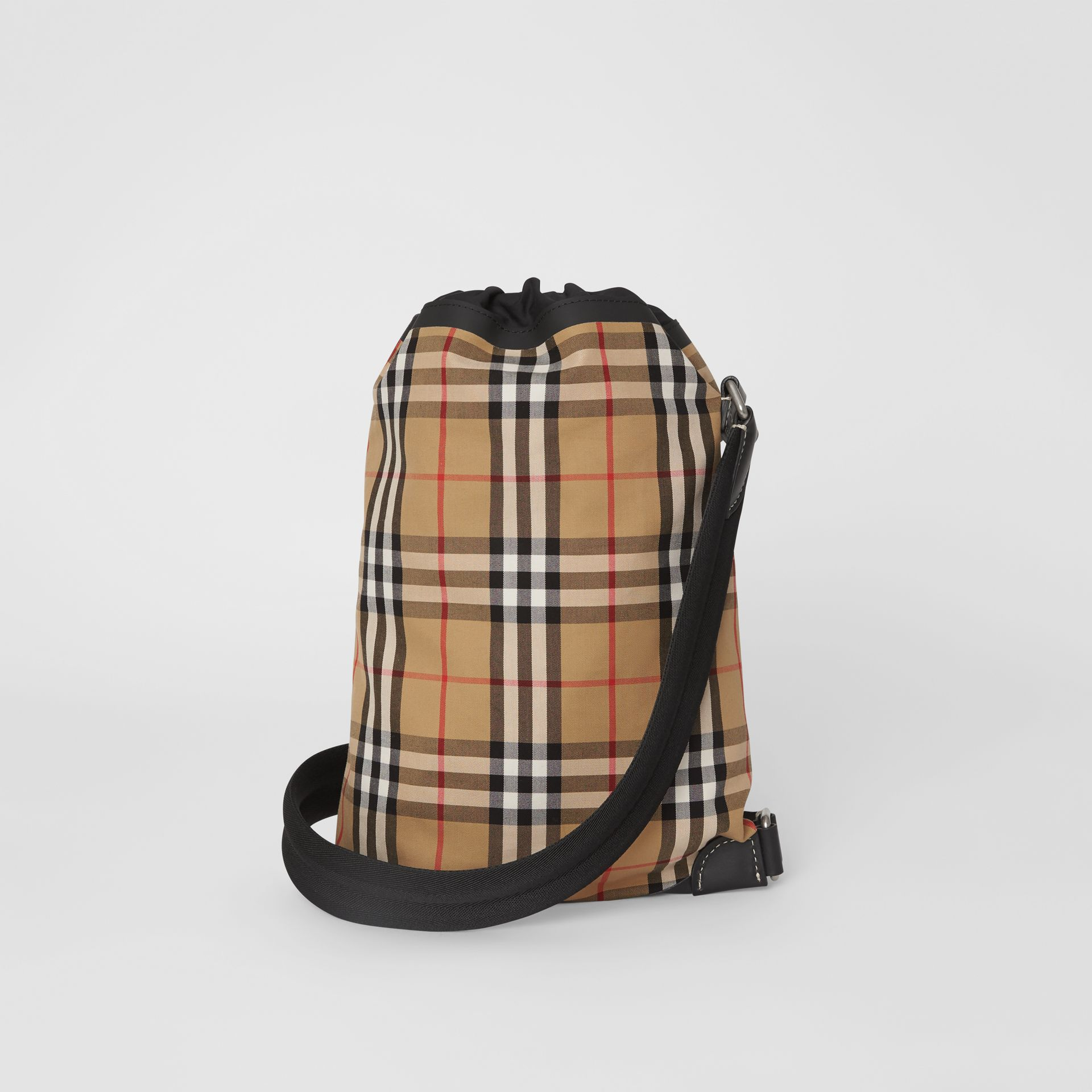Small Vintage Check Canvas Duffle Bag in Antique Yellow - Women | Burberry - gallery image 7