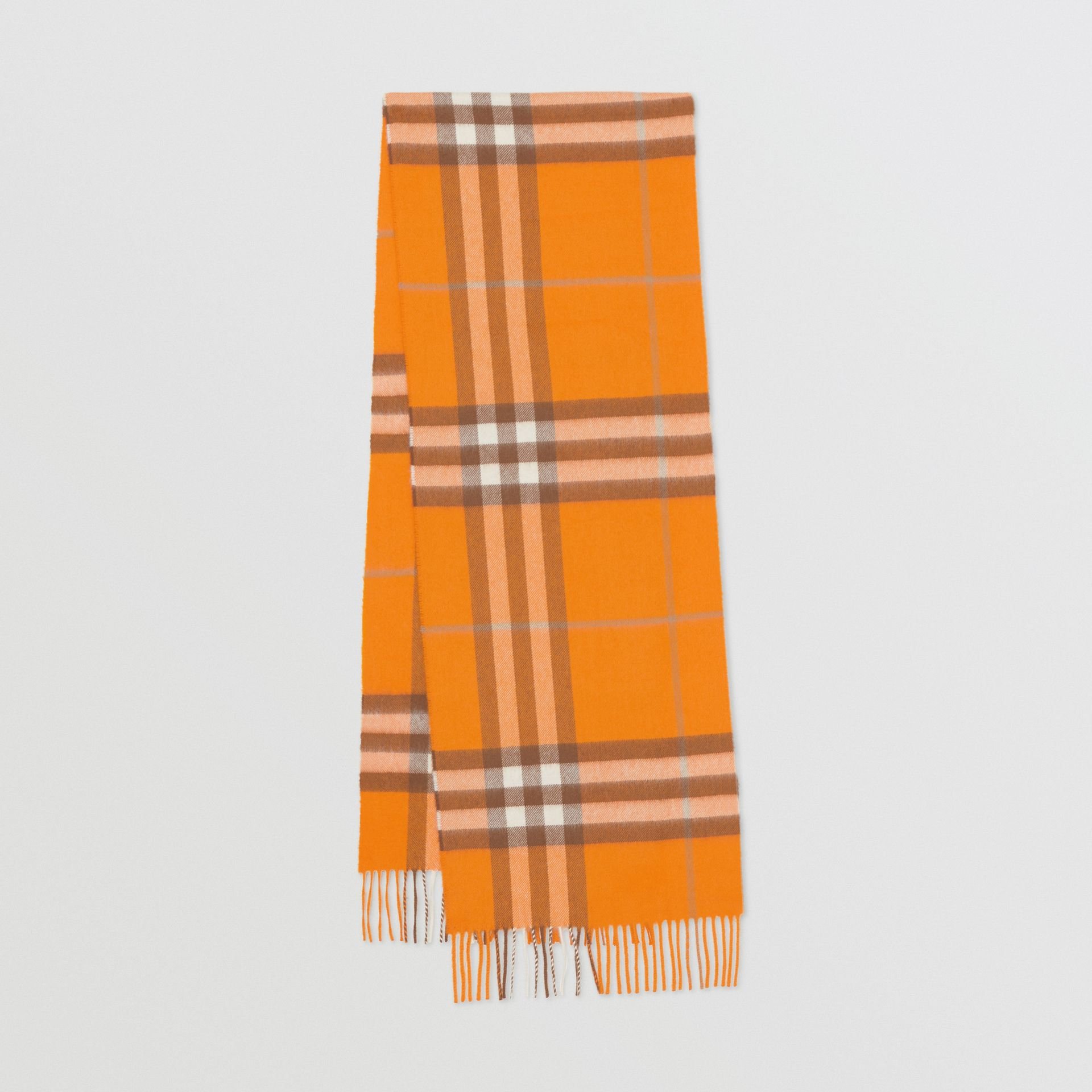 The Classic Check Cashmere Scarf in Orange | Burberry - gallery image 0