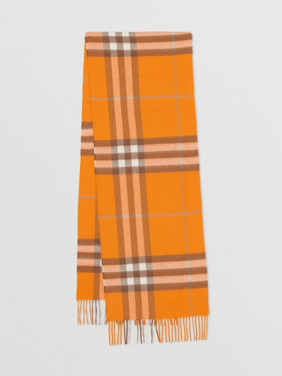 The Classic Check Cashmere Scarf in Orange