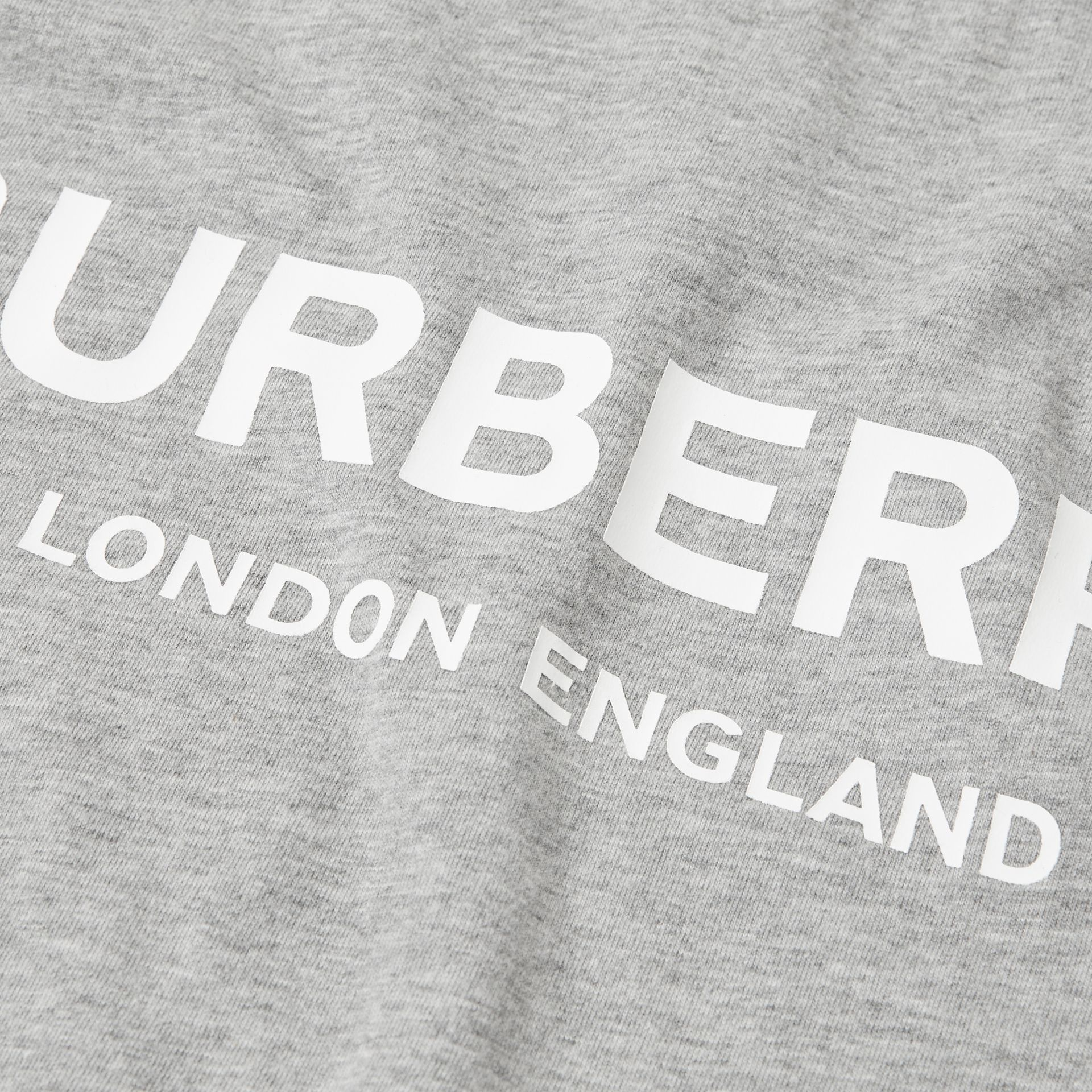 Logo Print Cotton T-shirt in Grey Melange | Burberry - gallery image 1