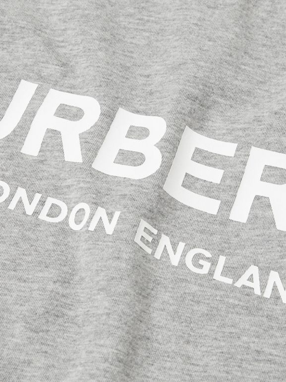 Logo Print Cotton T-shirt in Grey Melange | Burberry - cell image 1