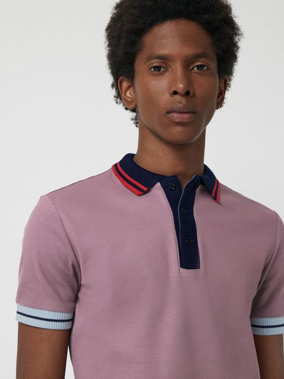 Two-tone Stripe Knitted Detail Cotton Polo Shirt in Heather Pink - Men | Burberry - cell image 1