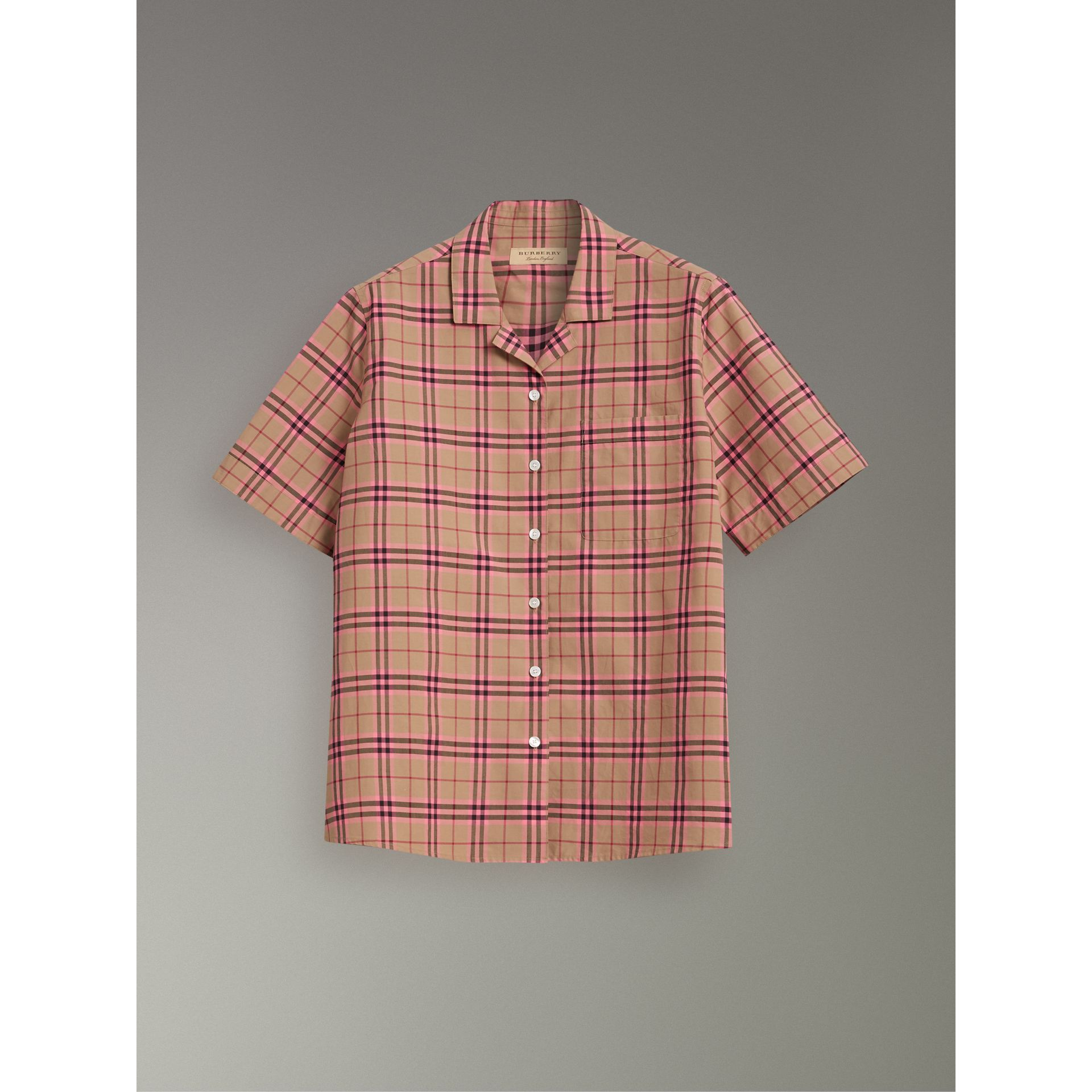 Check Cotton Short-sleeved Shirt in Pomegranate Pink - Women | Burberry United Kingdom - gallery image 3