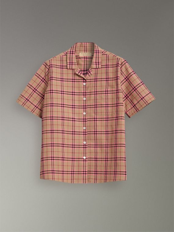 Check Cotton Short-sleeved Shirt in Pomegranate Pink - Women | Burberry Singapore - cell image 3