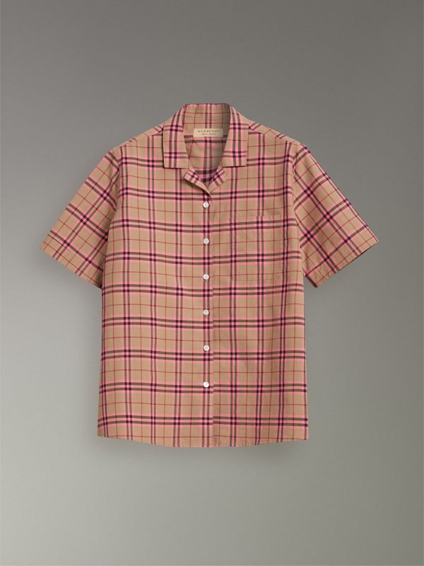 Check Cotton Short-sleeved Shirt in Pomegranate Pink - Women | Burberry Hong Kong - cell image 3