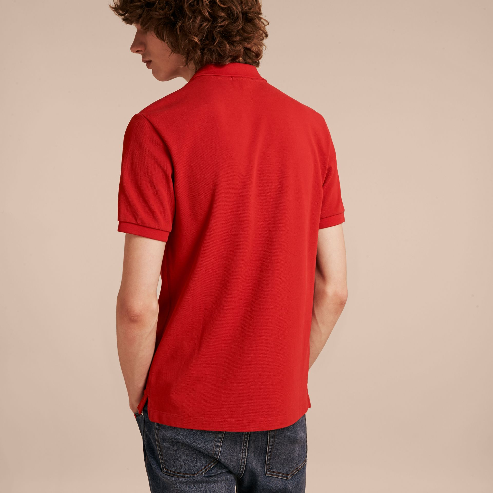 Check Placket Cotton Piqué Polo Shirt in Military Red - gallery image 3
