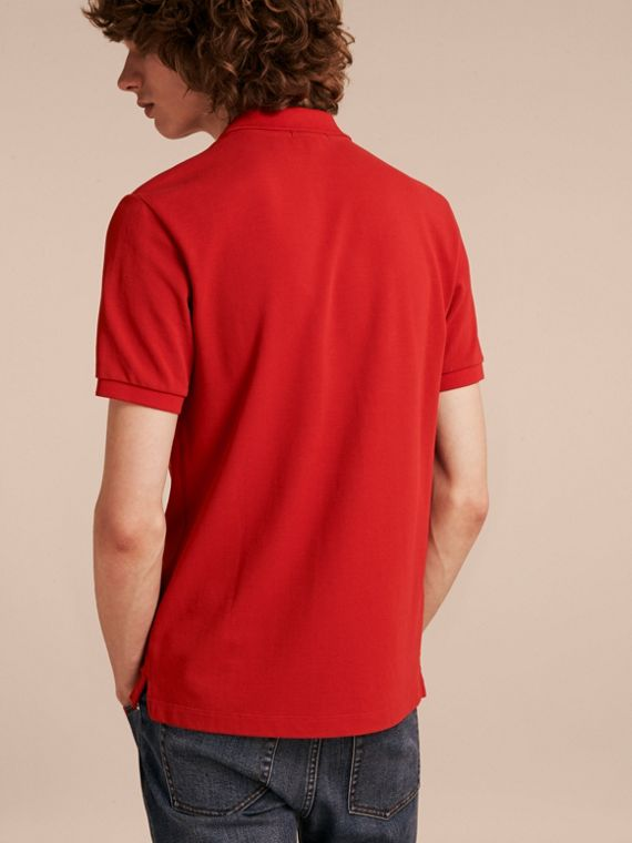 Check Placket Cotton Piqué Polo Shirt in Military Red - cell image 2