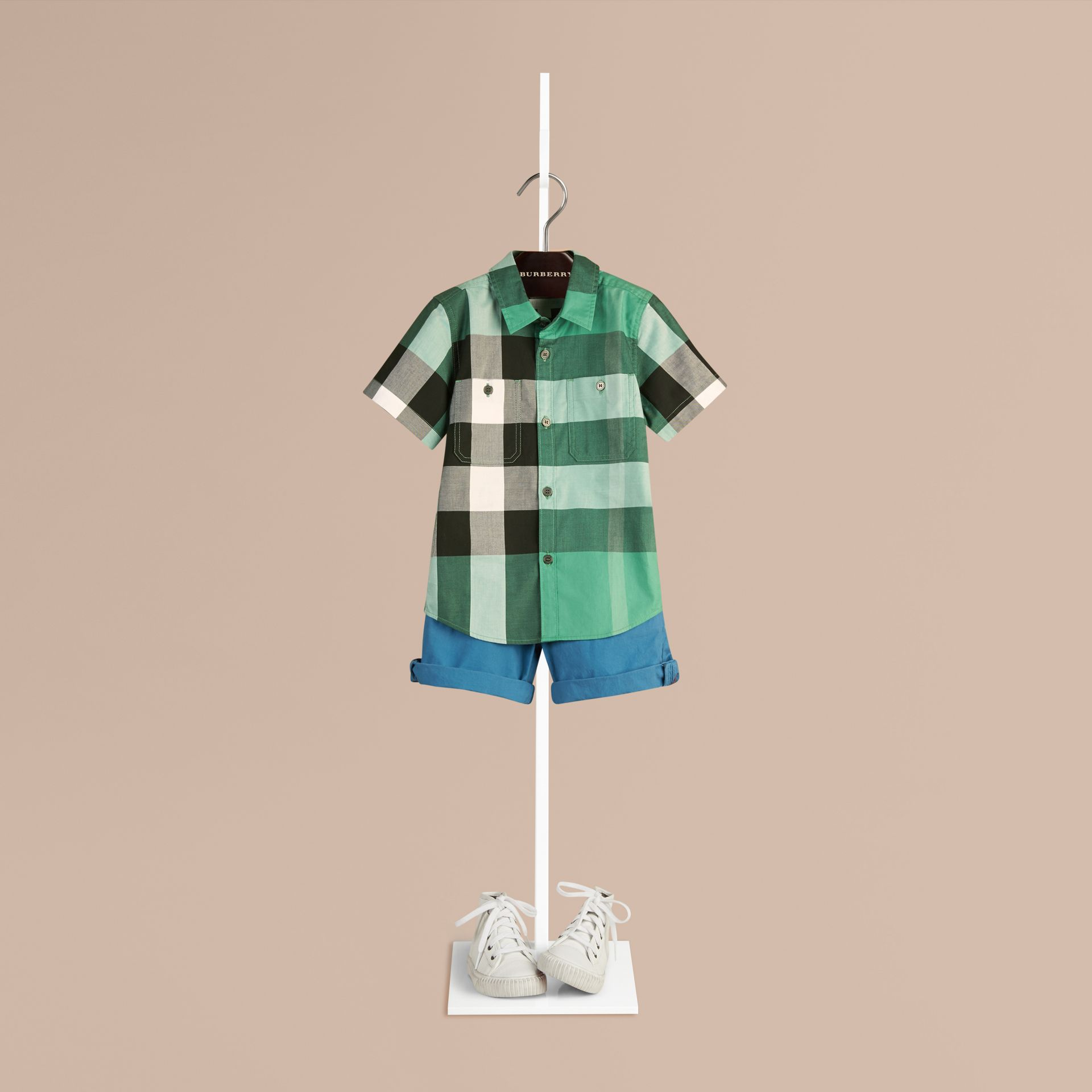 Aqua green Short-sleeved Check Cotton Shirt Aqua Green - gallery image 1