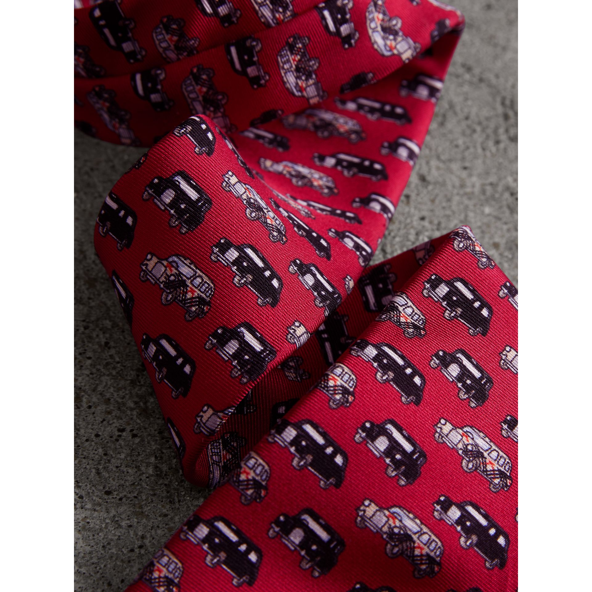 Slim Cut Taxi Print Silk Tie in Crimson Pink - Men | Burberry - gallery image 1