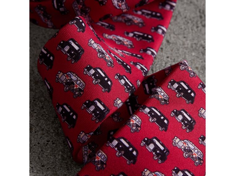 Slim Cut Taxi Print Silk Tie in Crimson Pink - Men | Burberry - cell image 1