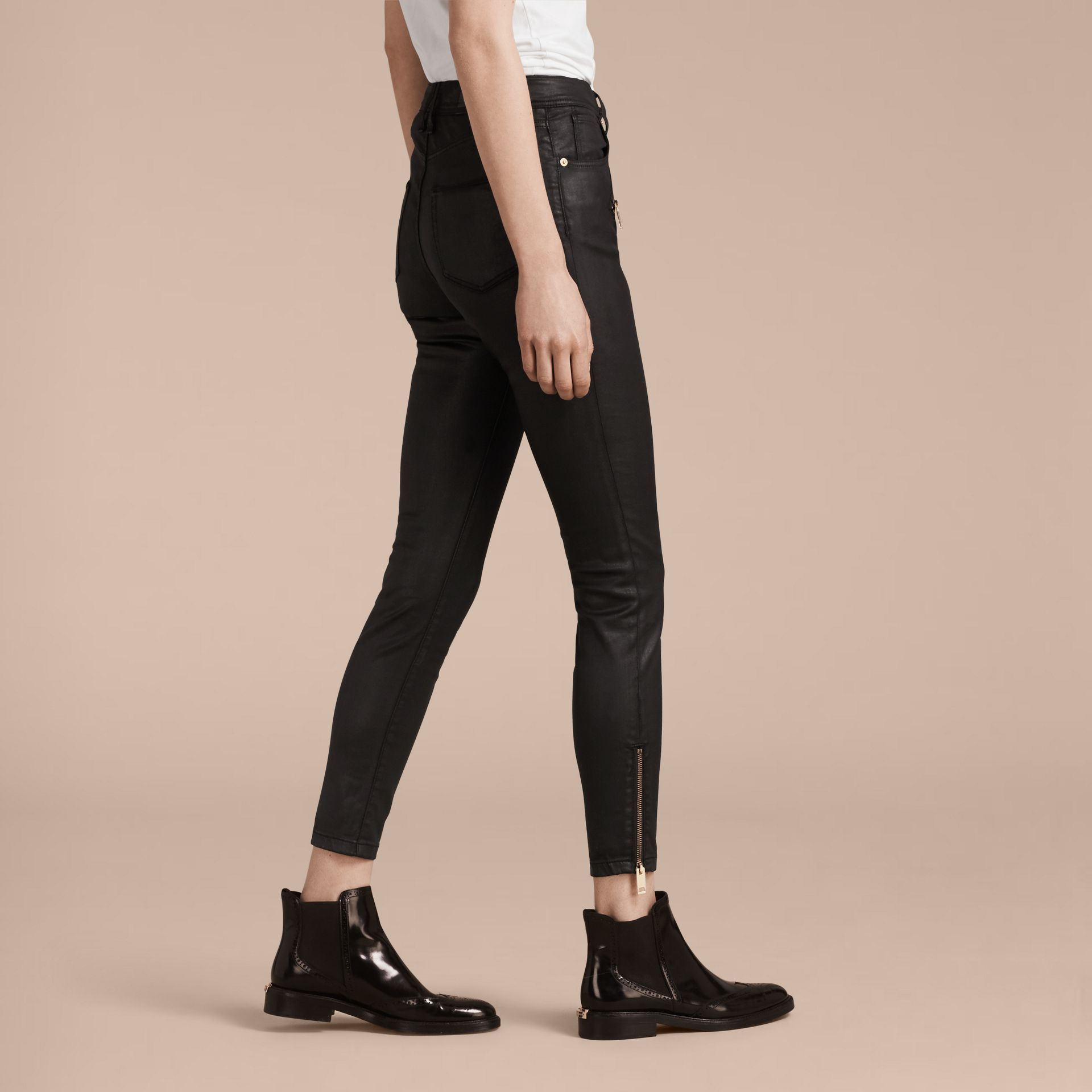 Skinny Fit High-rise Coated Stretch Denim Jeans - gallery image 3