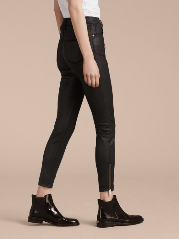 Black Skinny Fit High-rise Coated Stretch Denim Jeans - cell image 2
