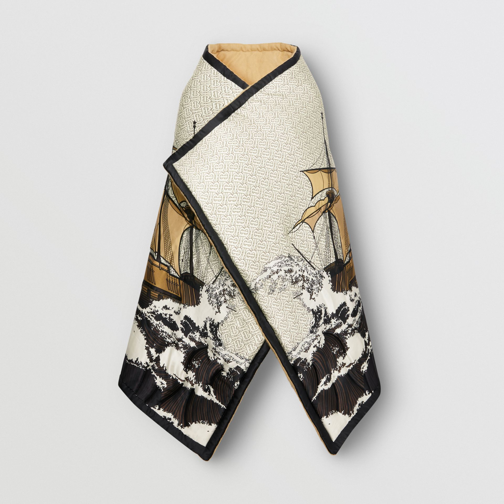 Ship Print Silk Satin Oversized Puffer Cape in White - Women | Burberry - gallery image 3