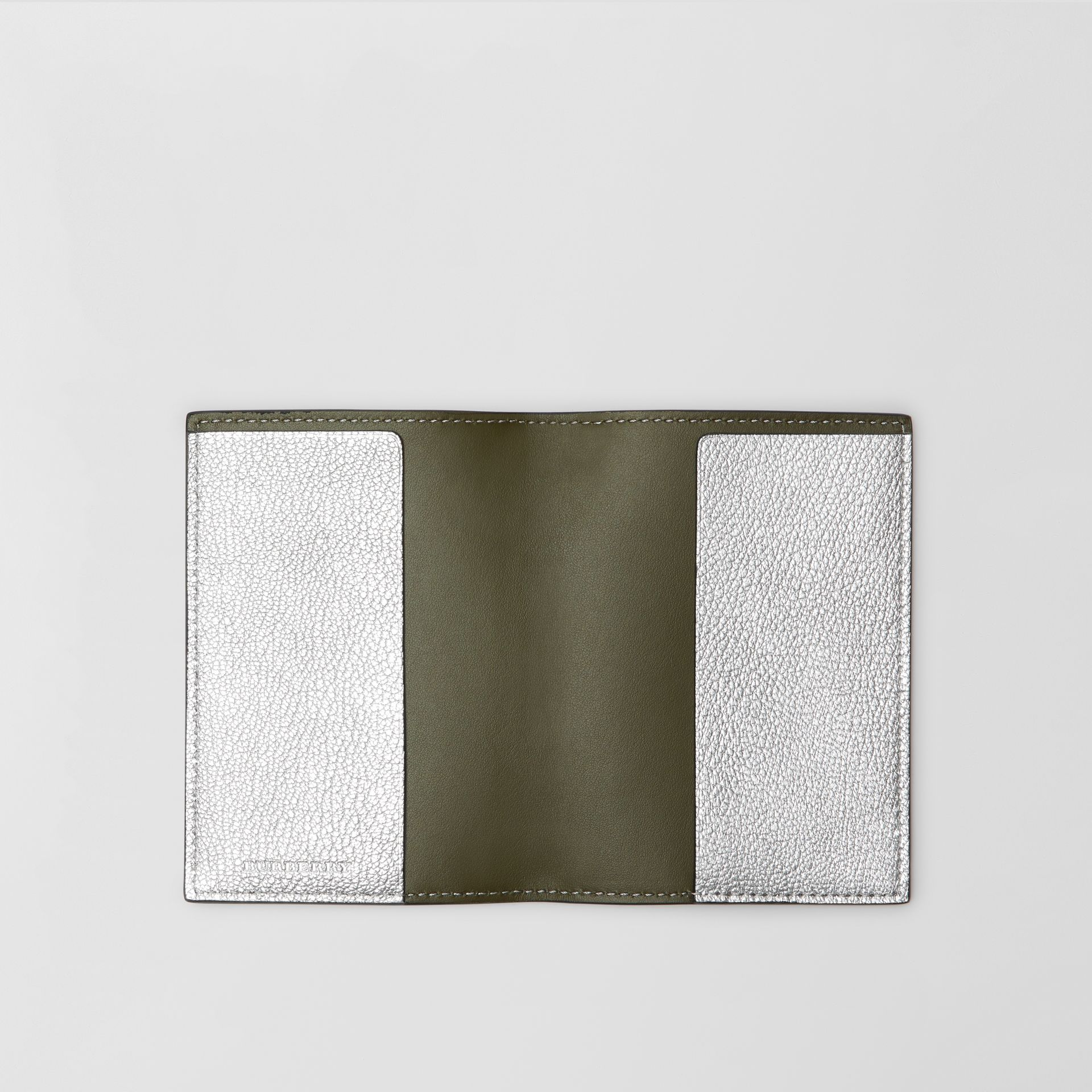 Metallic Leather Passport Holder in Silver - Women | Burberry - gallery image 2