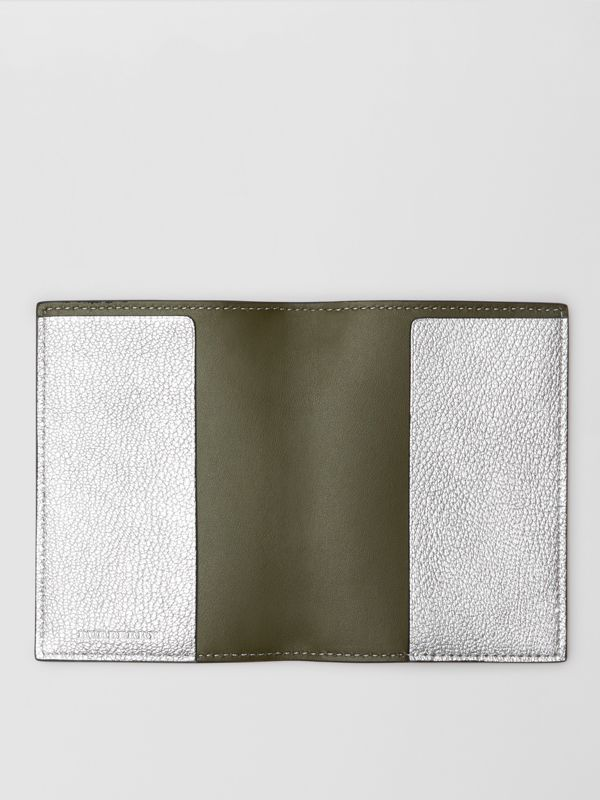 Metallic Leather Passport Holder in Silver - Women | Burberry Australia - cell image 2