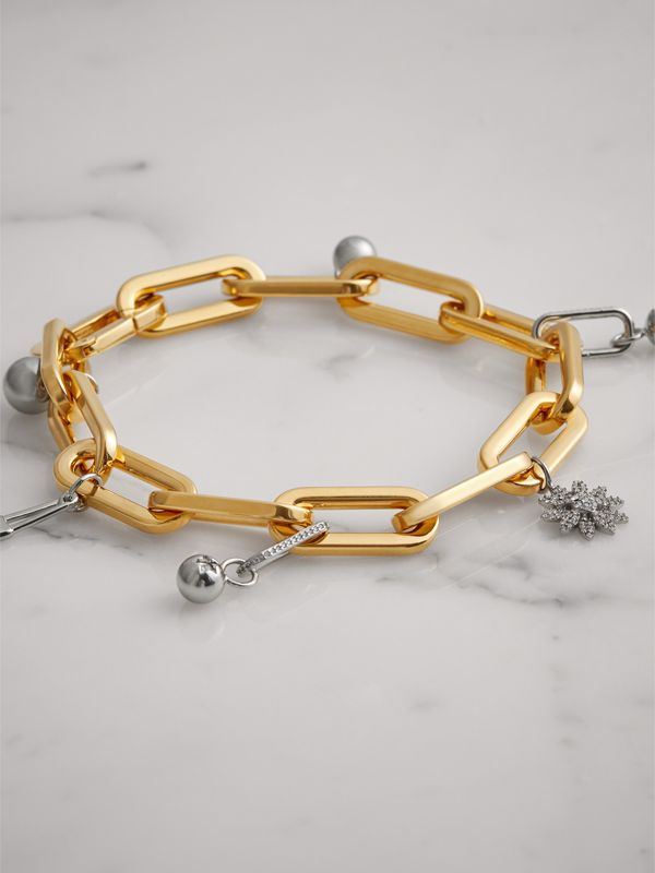 Crystal Charm Gold and Palladium-plated Bracelet in Light Gold/palladio - Women | Burberry Canada - cell image 3
