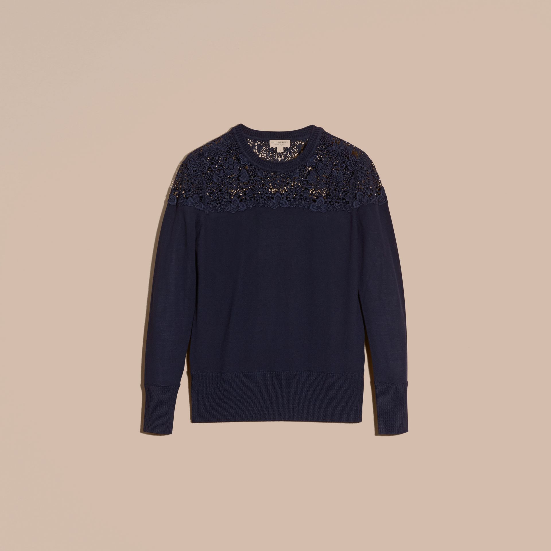 Navy Lace Yoke Merino Wool Sweater Navy - gallery image 4