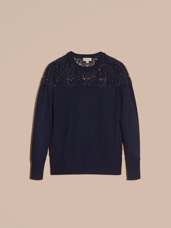 Navy Lace Yoke Merino Wool Sweater Navy - cell image 3